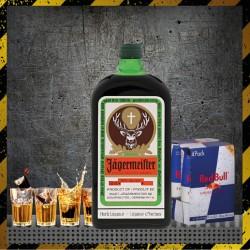 Jägermeister 70cl + 4 Redbull 25cl